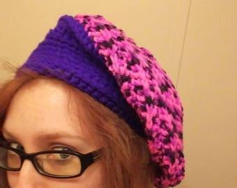 Purple/ pink slouchie beanie