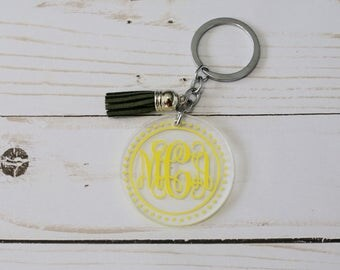 Circle keychain - Monogram keychain - personalized keychain - Backpack keychain