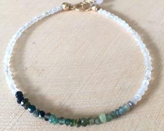 Dainty Shaded Green Tourmaline and Moonstone Beaded Stacking Bracelet