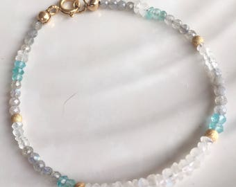 Delicate Moonstone, Apatite, and Mystic Labradorite Bracelet, Beaded Multi Gemstone Stacking Bracelet, Gold Filled