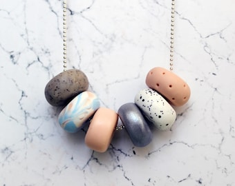 Peach & Silver Handcrafted Polymer Clay Necklace