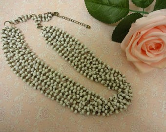 White Necklace, White Multistrand Necklace, Summer Necklace, White Bead Necklace, White Statement Necklace