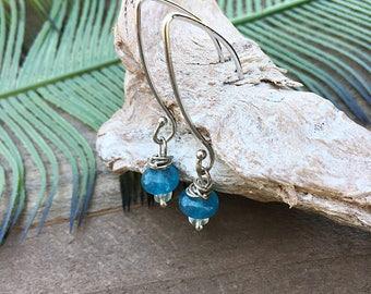 Silver wrap Aqua quartz drop earrings