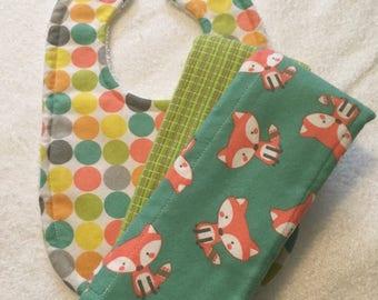 Fox and dots burp cloth and bib set