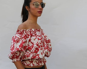 Free Size Red Flower Cropped Top OFF SHOULDER  Big Sleeves made in ORGANIC Cotton  and Handmade Print