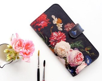 Floral Phone Case, Leather iPhone 8 case, iPhone 7 case, iPhone X Case, iPhone 6s Plus Case, iPhone 5s Case, Dutch Spring Folio Wallet Case
