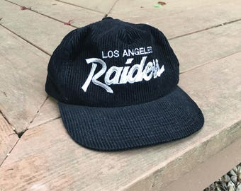 Vintage 80s 90s Los Angeles Raiders Corduroy Sports Specialties Hat Zipper Back