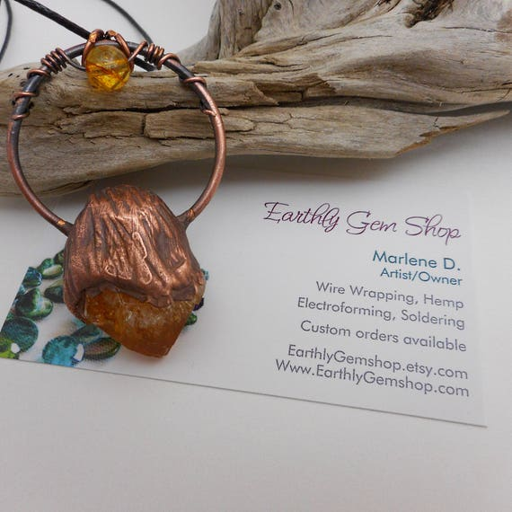 Rough Citrine Point - Copper Electroformed Citrine Pendant - boho style citrine pendant