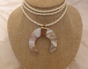 WHITE LEATHER ROPE 3 String Choker with Mini Mother of Pearl Crescent Pendant