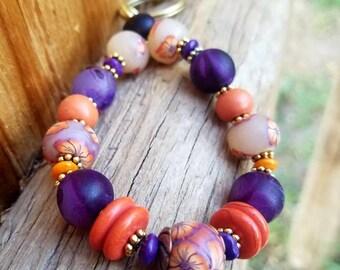Orange and Purple Keychain Bracelet,  Beaded Key Wristlet