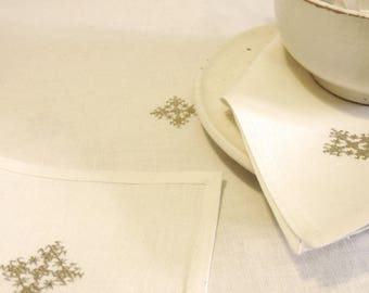 Linen and off white cotton Embroidered handmade table runner