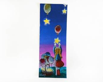 Digital Bookmark, Digital download, Printable Design, Printable Art Bookmark, Colourful Bookmark, Stars bookmark, Girl bookmark, Printable