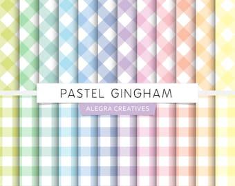 Pastel Gingham digital paper, diagonal gingham, straight gingham, pastels, rainbow colors, scrapbook papers (Instant Download)