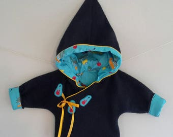"Reversible wrap ""Suits"" Pixie hooded Navy T.6mois"