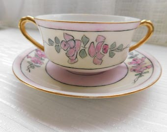 Two-Handled Haviland France Cream Soup Bouillon Cup Bowl and Saucer