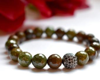 Chrysoprase Stretch Bracelet with Pave Accent Bead, Healing Bracelet, Stretch Elastic, Chrysoprase Stone, Healing Stone, Hope Bracelet