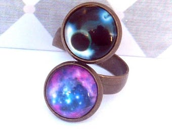 ring galaxy planet sky vintage brass double round cabochon 12mm