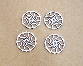 LOT 4 spiral COG gear round steampunk silver 25mm