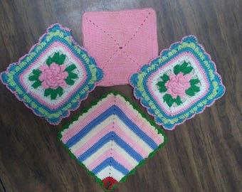 4 CROCHET POT HOLDERS, Pink Rose,Hot Pads,Boho,Victorian,Vintage