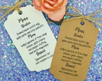 Wedding MENU Card / Tag Favour, Guest Label Kraft/ Napkin Ring, Personalised