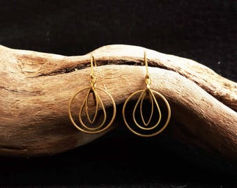 Earrings Brass Gold Geometric round