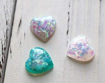 2pc lovely heart resin cabochons