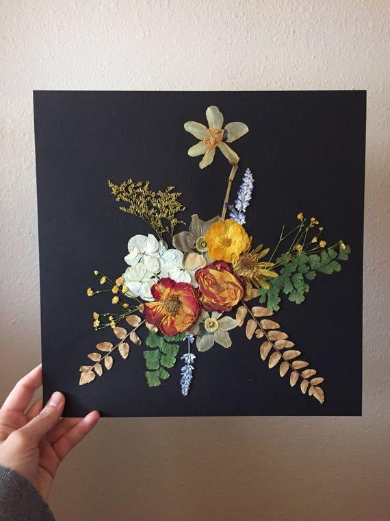 Real Flower Bouqet Art- Pressed Flower Herbarium Art - Black & Flower Botanical Art - Flower Gift- Vintage Botanical - Framed Botany Art