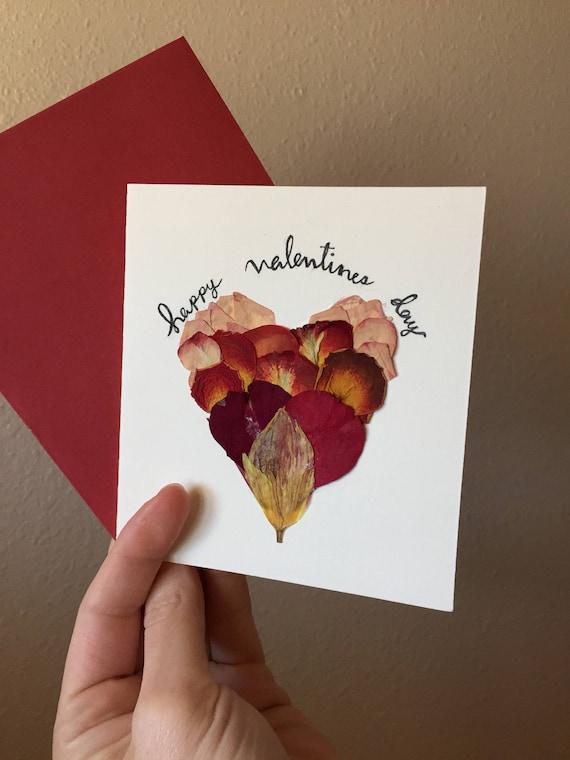 Happy Valentine Greeting Card- Rose Petal Valentine- Real Flower Valentine - Pressed Flower Greetings - Valentine Stationary- Handwritten Ca