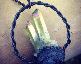 Green aura quartz with raw tourmaline pendant necklace