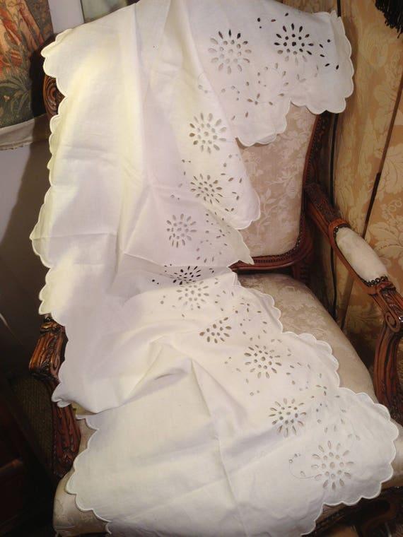 Edwardian cutwork lace runner. 70 inchesx23ins. Pretty