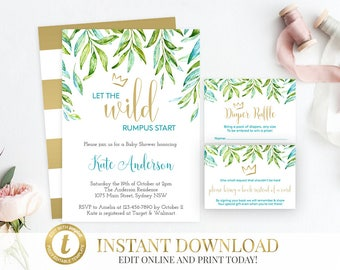 Where The Wild Things Are Baby Shower Invitation Package, Wild Things  Invite, Printable Invitation