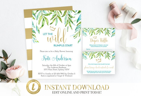 Where The Wild Things Are Baby Shower Invitation Package, Wild Things Invite, Printable Invitation, Editable, Books For Baby, Diaper Raffle