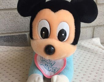Vintage 1980's Disney Baby Mickey Mouse, Mickey Mouse Plush, Vintage Mickey Plush, Crawling Mickey Mouse