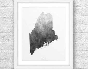 Maine Map, Maine Printable, Maine Art, Maine Map Art, Maine Printable Art, Instant Download, Maine Wall Art, Maine Art Printable, Maine 8x10