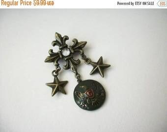 ON SALE Vintage 1950s Crest Honor Metal Rhinestone Pin 51117