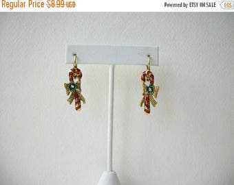 ON SALE Vintage Antiqued Gold Enameled Rhinestones Candy Cane Earrings 63117