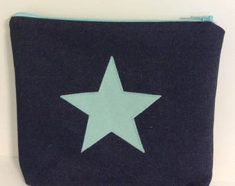 makeup purse with green star, bright green zip purse, star wash bag,Denim  wash bag,makeup bag,pencil case, green star denim zip bag