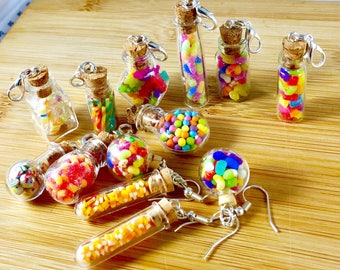 Candy shop bottle polymer clay earring jewelry