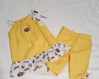 Little Girl Clothes - Toddler Girl Clothes - LSU Tigers Outfit - Little Girl Gift - Game Day Outfit - Top and Capri Pant Set - Size 2T