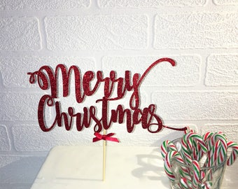 Merry Christmas Cake Topper. Festive Pie Decoration. Glitter Table Decor. Winter Cake Centrepiece, Party Supplies. Happy Holidays