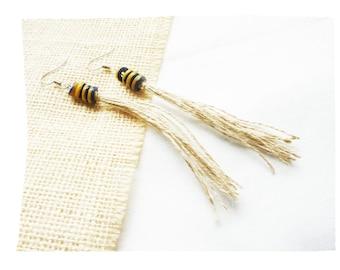 Earrings glass beads and hemp