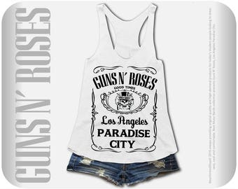 Guns n' Roses Rock Music Band Flowy Tank Top  Black And White Los Angeles Paradise City - Available in S, M, L, XL.