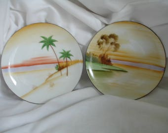 Vintage Meito China Handpainted made in japan 2 dessert plates decorative plates sunset scenes & Handmade meito japan   Etsy