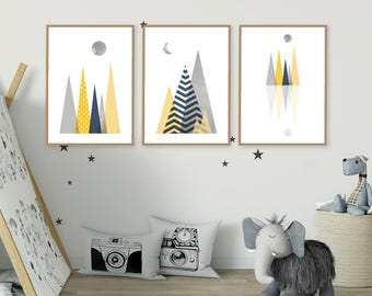 Scandinavian Nursery, Nursery Prints, Nursery  Art, Instant Downloads, Printable Art, Scandinavian Prints, Set of 3 Prints, Kids Wall Art