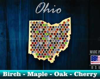 Ohio Beer Cap Map OH - Unique Christmas Gift - Beer Cap Holder Beer Cap Display Gift for Him Wedding Gift Fathers Day Birthday