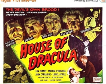 Back to School Sale: HOUSE OF DRACULA Movie Poster 1945 Monster Movie
