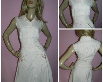 Vintage 70s Cream Tan EMBROIDERED Button down Belted day dress 10 S 1970s BOHO
