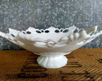 "Westmoreland Milk Glass Pedestal Bowl, Ring And Petal Pattern, Lace Edge, Bell Bowl, Fruit Bowl, 11 1/2"" Diameter"