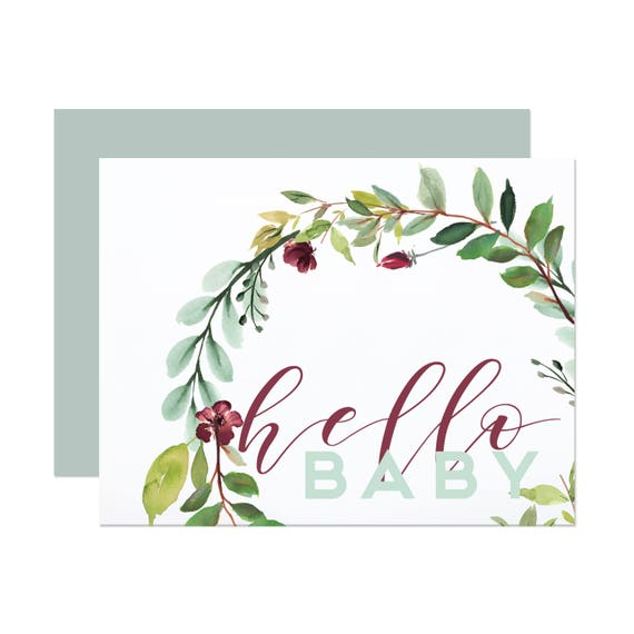 Hello Baby Greeting Card - Blue or Rose Envelope Available