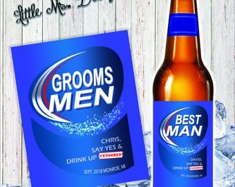 Beer Bottle Wedding Labels, Custom Label, Will You Be My Groomsman,Asking Best Man,Will You Be My Best Man, Asking Groomsmen Gift, Printable
